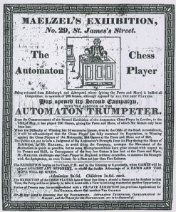 Advert for Maelzel's Exhibition, 29 St James's Street