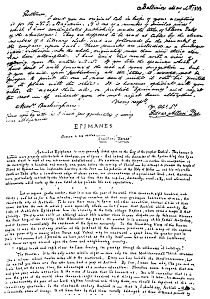 Image Unavailable; Take a look at Poe's handwriting, instead!