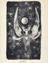 An illustration of Edgar Allan Poe's poem Israfel by Hugo Steiner-Prag, from the Complete Poems of Edgar Allan Poe. Published in 1943 by Heritage Press