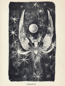 An illustration of Edgar Allan Poe's poem Israfel by Hugo Steiner-Prag, from the Complete Poems of Edgar Allan Poe. Published in 1943 by Heritage Press