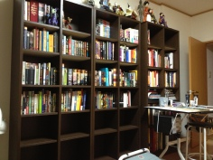 N J and I bought bookshelves, and have not stopped since. I think we have a problem.