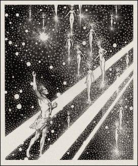 Virgil Finlay illustration for Edgar Allen Poe's poem Israfel, 1938