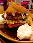 """Onion Ring Tower Burger with """"Egg"""" and Bacon... looked delicious. Cold onion rings disappointed."""
