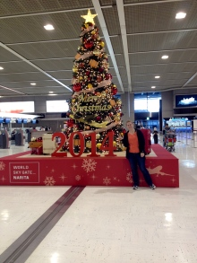 The only sign of Christmas in the entire airport.