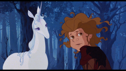 "The Unicorn in ""The Last Unicorn"" is the epitome of the Innocent Animal. Hunted and alone, she struggles with a reality she can no longer escape, in the end, even tarnished to the point that she can never recover her pureness (and return with the other unicorns). She is precocious, and unable to understand the pain of her comrades. Being turned into a woman is soul-destroying for her, on many levels, but most notably, the sudden romantic emotions hoisted on her from within and without."