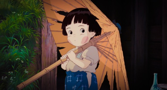 Setsuko, of Grave of the Fireflies, is a child doomed to die. While she is an Innocent in the strictest terms, it is her brother, Seita, who is plagued with justifiable pessimism, eventually leading to both of their deaths. This movie pulls no punches on the reality of the war orphan's plight. Seita is the result of the Everyperson's abandonment by those he relies on.