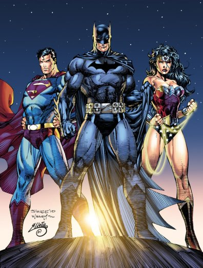 """Though Batman is pictured, he is an Outlaw. Here we look at Superman and Wonderwoman, both having received """"The Call"""" to fight, and as we can tell by recent movies, haven't left the action yet."""