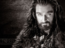 "Thorin is a Hero among dwarves. He is strong, diligent, and virtuous. However, arrogance gets the better of this dwarf when he quests to restore the throne of his father in ""The Hobbit"", nearly to the destruction of all he holds dear. In the end, he must give up it all to restore his honor, and the balance between the factions at war."
