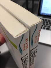To fix the cover of this book, the publisher had to recall all the books, rip off the cover, and glue the replacement over it. Then trim the pages again to make the books clean. This book lost an entire quarter inch of space!