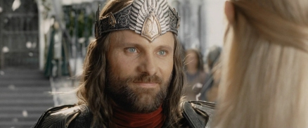 King Aragorn is shown at the peak of his arc--there's no story to really tell after his ascension to the throne--but he embodies all that is benevolent and powerful. Give him a dark side, and he'd be King Arthur, who eventually fell to ruin, or Sauron himself.